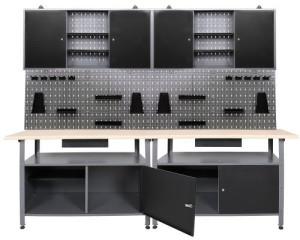 Werkbank Werkstatteinrichung Werkzeugschrank und Lochwand mit Haken