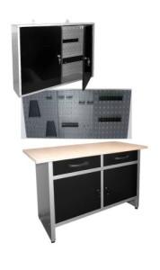 Werkbank Set: Werkstattschrank, Werkzeugwand mit Werkzeughalter