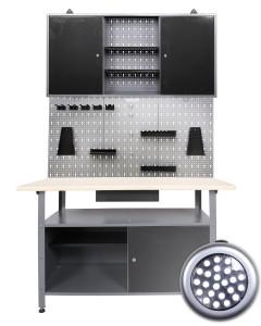 Werkbank kaufen: Werkstatteinrichtung 3 teilig mit LED Beleuchtung