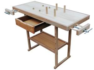Werkbank Holz - Werktisch mit Spannzange und Bankhaken Arbeitstisch